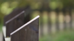 Black wooden steel fence Stock Footage