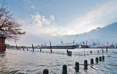 Storm Xaver floods the Port of Hamburg Stock Photos