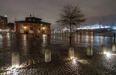 Storm Xaver floods the Port of Hamburg - stock photo