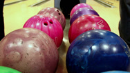 Stock Video Footage of multi-colored bowling balls