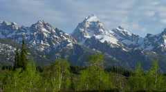 TETON RANGE – SNOWY MOUNTAINS AND GREEN TREES - stock footage