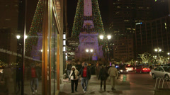 Monument Circle Christmas Lights 4 - stock footage