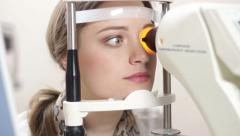 Young Girl At The Optometrist - stock footage