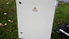 High voltage sign on the cabinet Stock Footage