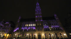 Colored lighting Grand Place Brussels night Stock Footage