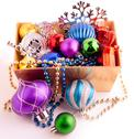 Stock Photo of christmas background with basket full of color balls