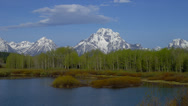 Stock Video Footage of OXBOW BEND – MOUNT MORAN AND TREES