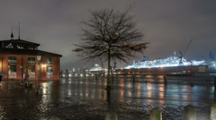 Storm Xaver floods the Port of Hamburg Stock Footage