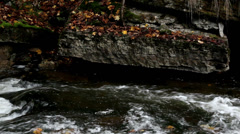 Stream flowing and some rocks at the side Stock Footage