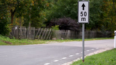 Road sign found at the side of the road Stock Footage