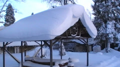 Roof of the shed is covered in a lot of snow Stock Footage