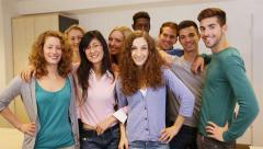 group of teenager students holding thumbs up - stock footage