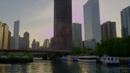 VIEW OF CHICAGO SKYLINE WITH RIVER Stock Footage