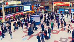 london, top view zoom timelapse of commuters inside victoria railway station - stock footage