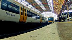 london, panning timelapse of commuters crowd inside victoria railway station - stock footage