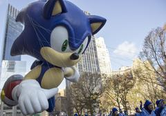 Sonic the Hedgehog balloon in 2013 Macy's Parade close up - stock photo