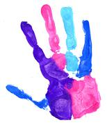 Close up of colored hand print on white Stock Illustration