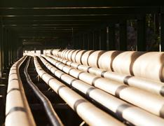 Pipe line in heavy industry Stock Photos