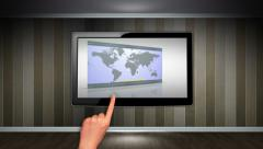 Business Concept in Monitor, Open with Hand Click Stock Footage
