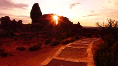 Arches National Park Turret Arch Sunset Utah USA - stock photo