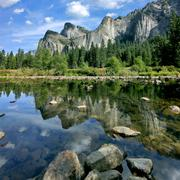 Yosemite National Park Valley View reflections on Merced riverr - stock photo