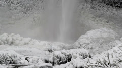Latourell Falls in Deep Freeze During Winter Season 1080p Closeup Stock Footage