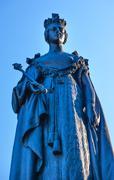 queen statue provincial capital legislative buildiing victoria british columb - stock photo
