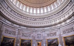 Us capitol dome rotunda paintings washington dc Stock Photos
