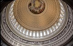 Us capitol round dome rotunda apothesis george washington dc Stock Photos