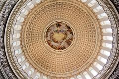 Us capitol dome rotunda apothesis george washington dc Stock Photos