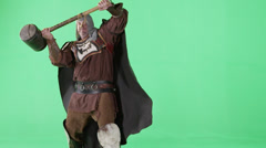 Medieval Warrior On Green Screen - stock footage