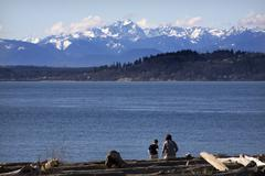 Day at the beach mother and son in distance edmonds washington Stock Photos