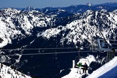 sking chairlift snow ridges crystal mountain - stock photo