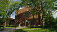 LAKE FOREST, IL – CHURCH OF ST MARY WITH TREES Stock Footage