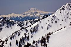 snowy mount saint adams and ridge lines - stock photo