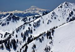 Snowy mount saint adams and ridge lines Stock Photos