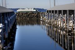 Marina ferry boat reflections edmonds washington Stock Photos