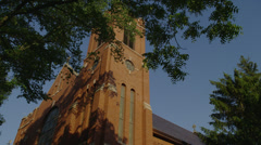 LAKE FOREST, IL – CHURCH OF ST MARY (LOW ANGLE) Stock Footage