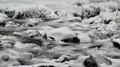Water Flowing along Latourell Creek in Deep Freeze Winter 1920x1080 Stock Footage