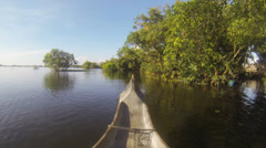 Pirogue entering forest Stock Footage