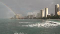 Oahu - Hawaii - USA - Honolulu - Waikiki Beach - Rainbow - HD Stock Footage