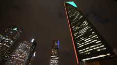 Modern urban skyscrapers,shanghai pudong economic center landmarks at night. Stock Footage