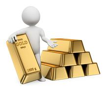 3d white people. gold ingots. bullion Stock Illustration