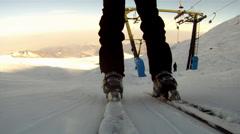 Riding a ski lift Stock Footage