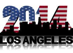 los angeles skyline with 2014 american flag text illustration - stock illustration