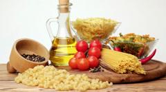 Italian spaghetti, Italian pasta ingredients - stock footage