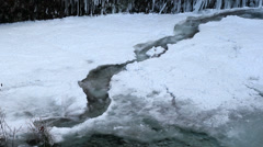 Water Flowing along Frozen Creek in Deep Freeze Winter Portland Oregon 1920x1080 Stock Footage