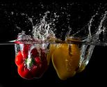 Stock Photo of splash peppers