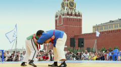 First All-Russian tournament on Russian traditional struggle Stock Footage