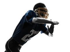 american football player man time out gesture silhouette - stock photo